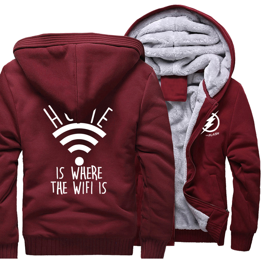Funny Print Home Is Where The Wifi Is Mens Hoodies 2017 Winter Thick Hoody High Quality Sweatshirts Men Harajuku Tracksuits New