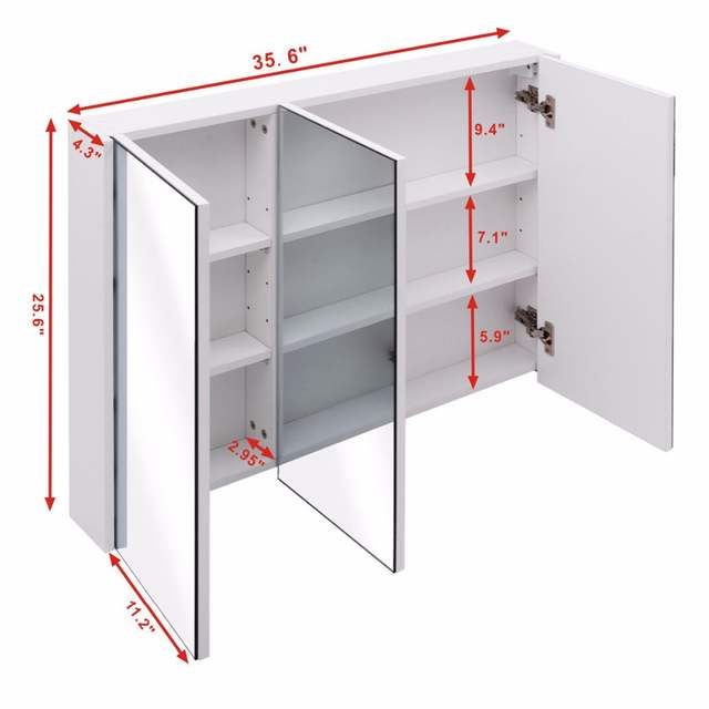 Giantex 36 Wide Wall Mount Mirrored Bathroom Cabinet With 3
