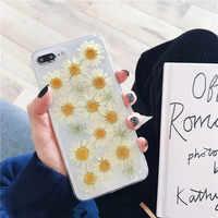 Chrysanthème Transparent Vraie Fleur étui pour iphone X Xs Max XR Mode coque souple Pour iphone 6 6s 7 8 plus TPU Couverture Arrière