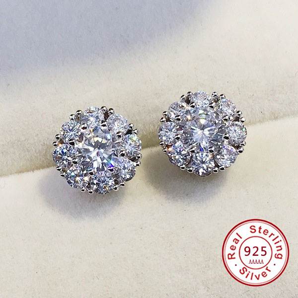 Hot Sale Authentic 100% silver color Romantic Small Flower Clear CZ Stud Earrings for Girls Women Fine Jewelry