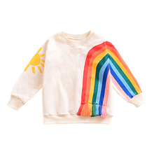 2017 Long Sleeve Kids Girls T shirt For girls Spring Fall Cartoon rainbow  pink girls Children T-shirt 1-6 Years