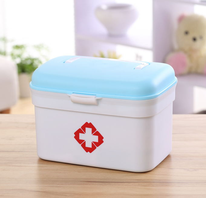 QQB200---Family medicine, multilayer first-aid drug storage box, home plastic childrens large medicine box medical visit