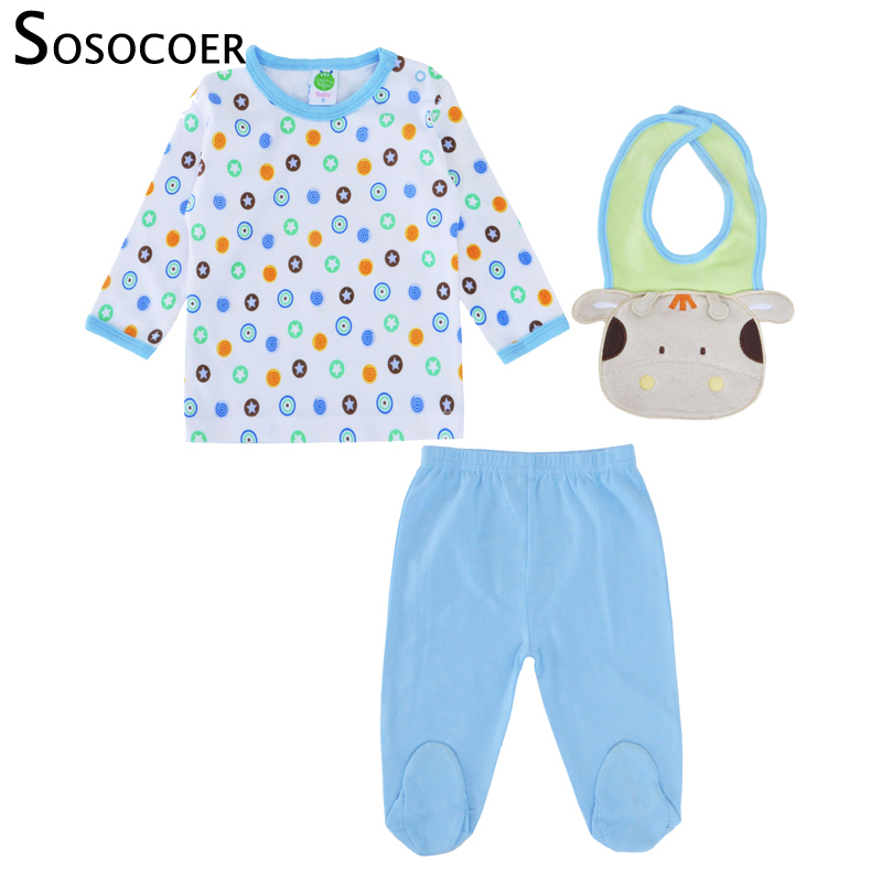 SOSOCOER Baby Clothes Set Boys Newborn 2018 Infant Boys Clothing Set Polka Dot T Shirt Pants Cow Bibs Toddler Children Clothing