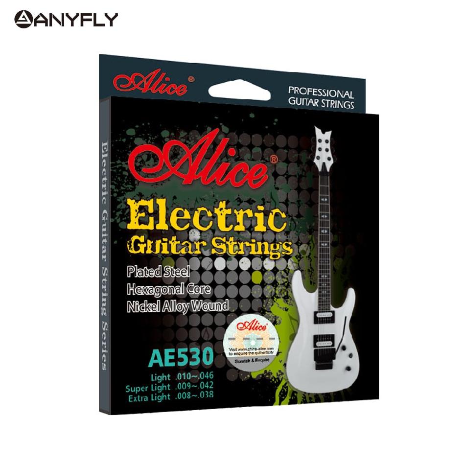 Original ALICE AE530 Electric Guitar Strings 1st-6th Light Super Light Extra Light Nickel Alloy Wound Full Set Hexagonal Core