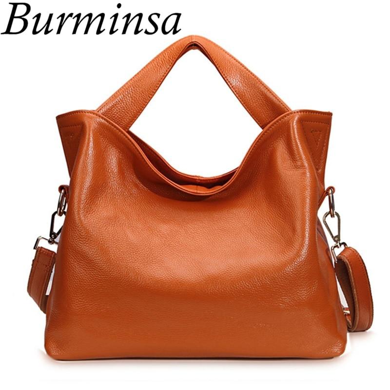 Burminsa 100% натуральная кожа сумки офисные женские классические сумки-тоут дизайнерские сумки высокого качества женские сумки через плечо