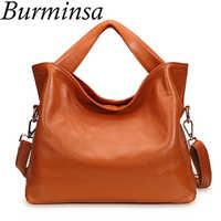 Burminsa 100% 本革バッグオフィスの女性のクラシックトートバッグデザイナーハンドバッグ高品質の女性のメッセンジャーバッグ