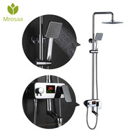 Modern Chrome Bathroom Rain Shower Mixer Sink Set with LED Centigrade Temperature Display Bath Shower Faucets Taps