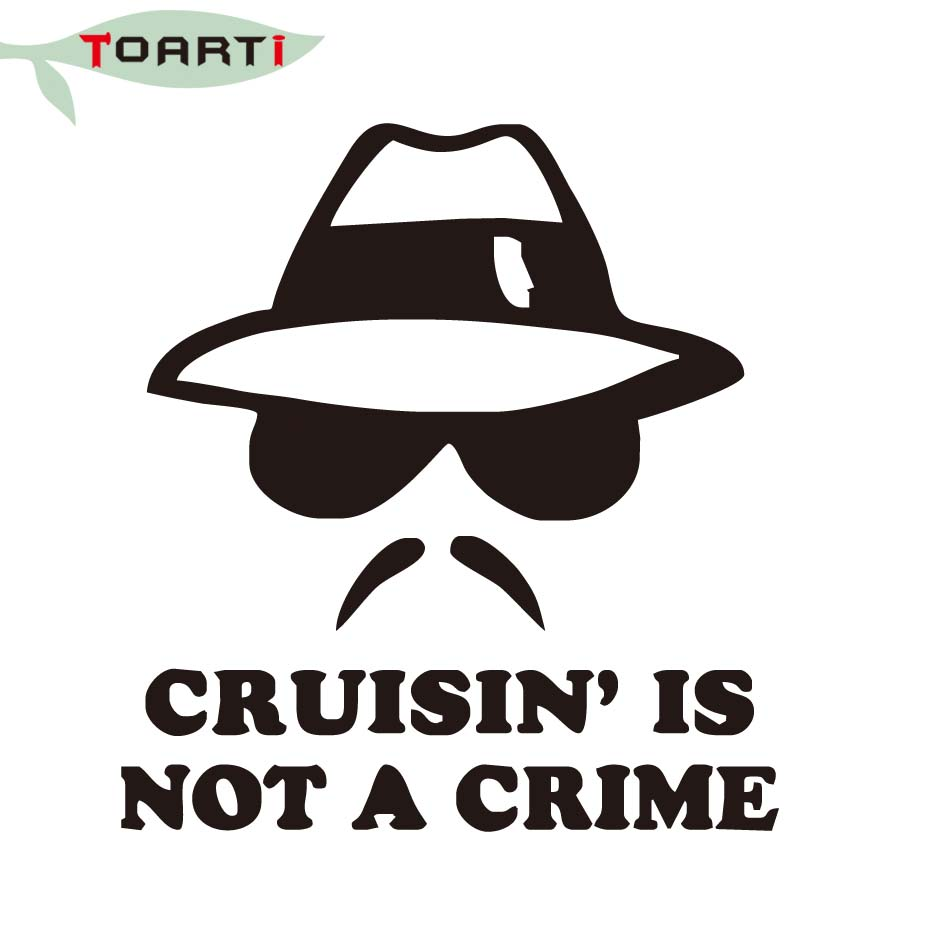 1314cm cruisin is not a crime funny vinyl car stickers beard man with glasses window decorative adhesive decals car styling in car stickers from