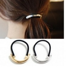 2016 New Fashion Gold Silver Plated Metal Hair Accessories Head Piece Elastic Hairband Rope Ponytail Holder For Women Hairwear