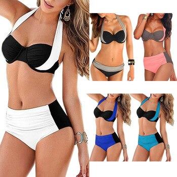 Brazilian 2018 Sexy Bikini Women Push-up Padded Bra High Waisted Bathing Suits Swim Halter Push Up Bikini Set Plus Size Swimwear 2