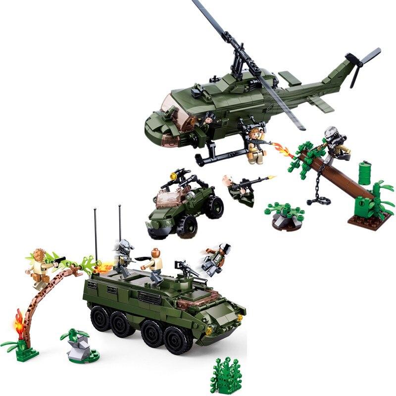 SLUBAN Alien prédateurs M18 blindé réservoir véhicule hélicoptère bloc de construction ensemble film classique enfants jouets Marvel Compatible Legoings