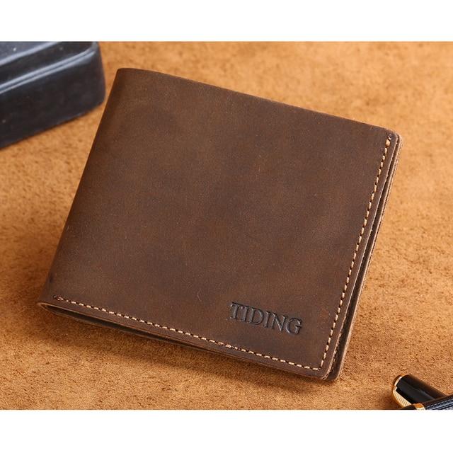 Tiding cuero del Clip del dinero hombres Retro monedero calidad superior de cuero suave bolsillo delantero monedero 4095