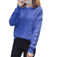 Women Sweater 2018 New Pullover Hooded Twist Knitwear Long sleeved Loose Short Bottoming Sweater Spring Autumn Female Clothes