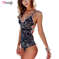 One Piece Swimsuit Swimwear Swiming Suit For Women 2017 Bathing Suit Vintage Floral Beachwear Push Up