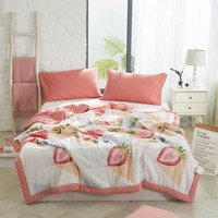 2019 3D Strawberry Pink Stitching Comforter Summer Quilt Air condition Wash Polyester Fabric Polyester Twin Full Queen Size
