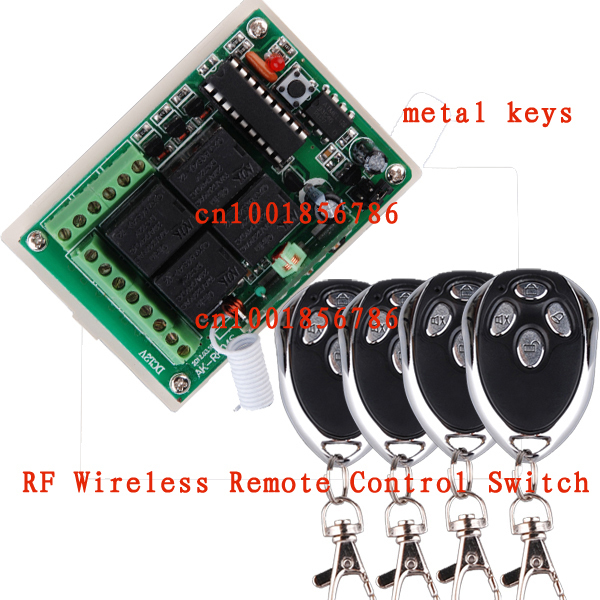 Free shipping 12V 4CH RF Wireless Remote Control Switch System Receiver &4 Transmitter 200M Learning Code 4 Relay Receiver best price free shipping fixed code rf wireless remote control switch system receiver board