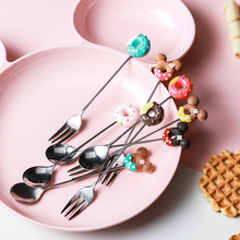 Шикарная мини Конфета пончик ложка Микки вилка из нержавеющей стали мороженое фрукты кофе чайная ложка милые кухонные принадлежности десерт посуда