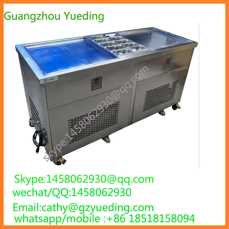 LCD display ntellective fried ice cream roll machine/fry ice cream machine with 10 barrels intelligent square pan double compressor fry ice cream machine ice pan machine fried ice cream roll machine with freezer