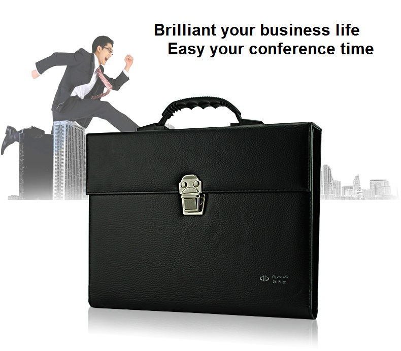 Leather office conference A4 business portfilio manager document bag file folder holder brief case with 6 layers design dark blue zippered faux leather handle conference file contract bag container