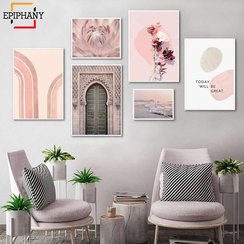 Modern Pink Wall Art Bedroom Decor Large Prints Gallery Canvas Painting Flowers Ocean Landscape Posters Nordic Home Decoration