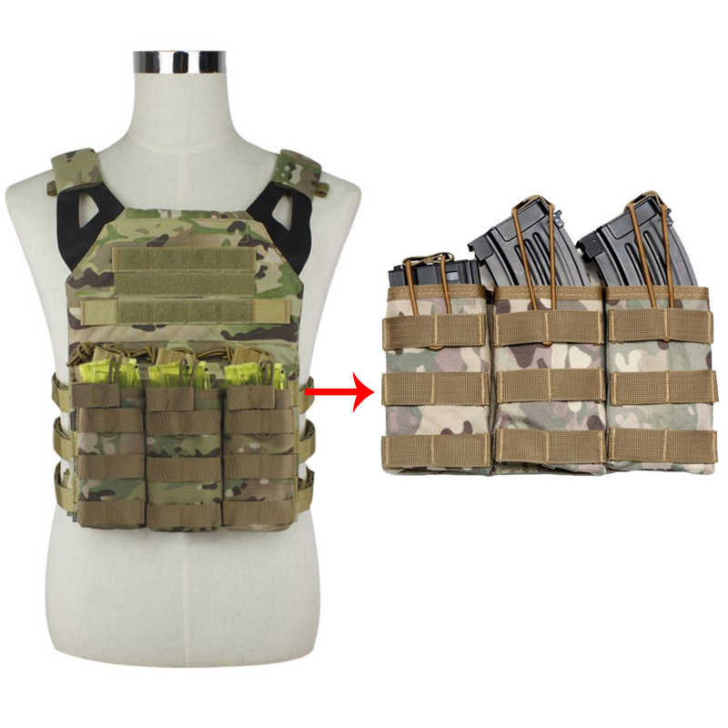 Simple/doble/Triple abierto Superior Militar Airsoft táctico M4 revista bolsa AK AR M4 AR15 Rifle Mag bolsa