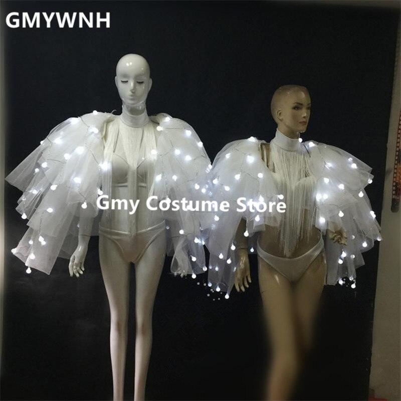BC44 бар производительность Женщины плащ крылья бабочки бальных танцев led костюмы световой наряд Одежда dj боди платья