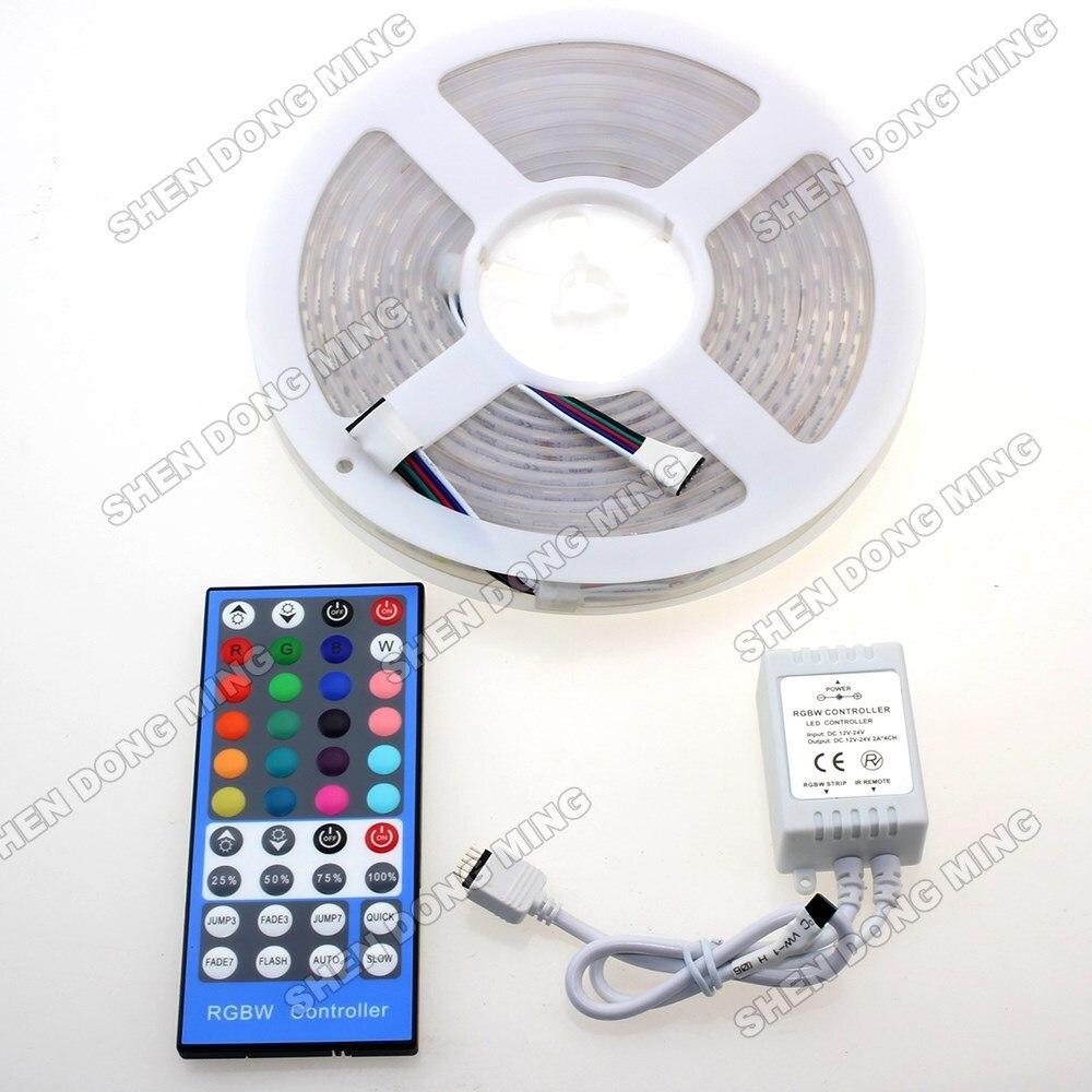 5m RGBW RGB LED Strip tape ribbon flexible light 12V smd 5050 Waterproof IP65 40Keys IR remote control + DC12V 8A Controller