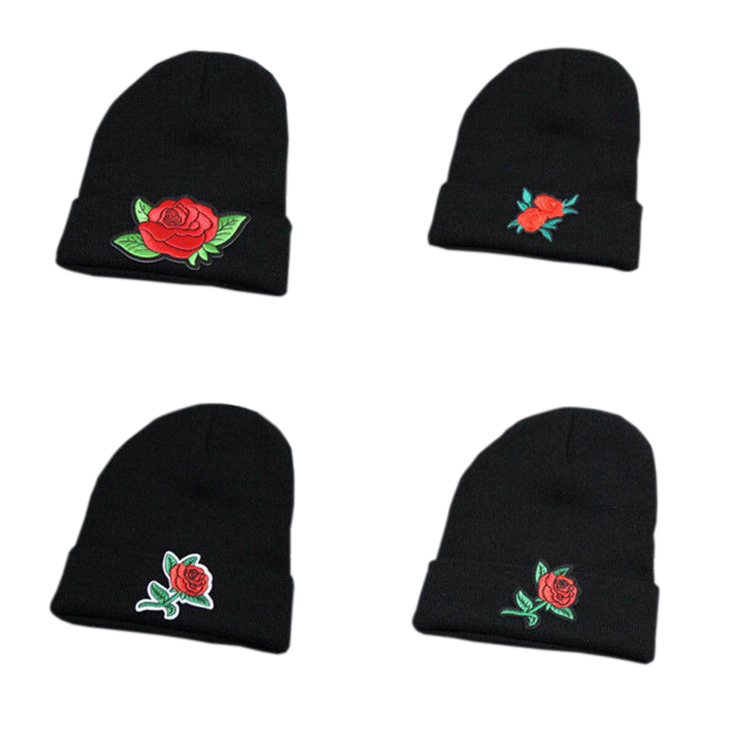 HOT Fashion Women Beanie Floral Embroidery Knitted Rose Cap Woman Hip-Hop Black Warm Caps Solid Winter Female Warm Unisex Hats