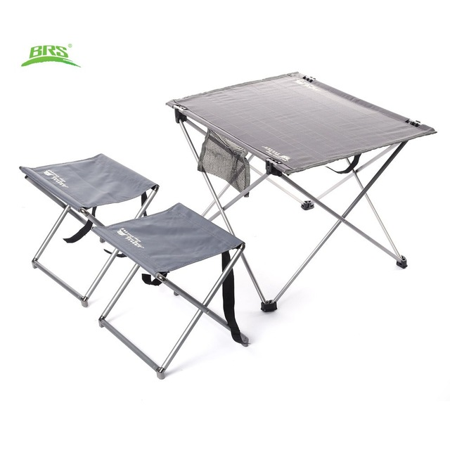ФОТО BRS-T03 3pcs Set Portable Folding Camping Hiking Picnic Table Outdoor Oxford Fabric Ultralight Foldable Table Stools Chairs