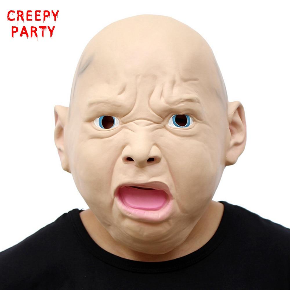 Rozzlobený Baby Mask Realistické Latex Party Maska Legrační Halloween Dospělý Cosplay kostým Maškarní masky