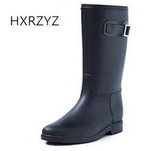 HXRZYZ mulheres botas de borracha feminina fivela longas botas de chuva moda soft bottom slip-resistant impermeável primavera / Outono mulheres sapatos