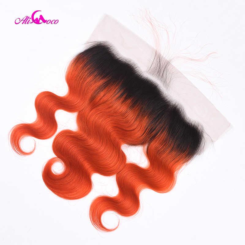 Али Коко волнистые бразильские 13X4 Кружева Фронтальная Закрытие 1B/оранжевый 8-20 дюймов человеческие волосы 13X4 уха до уха Кружева Закрытие remy волос