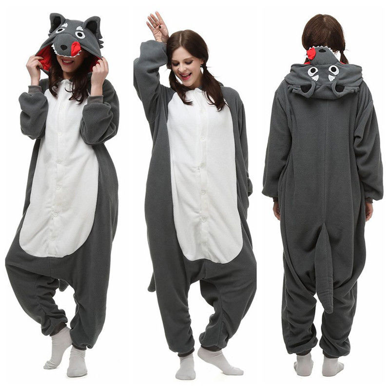 New Anime Kigurumi Gray Wolf Cosplay Unisex Adult Pajamas Costume Sleepwear Pajamas Halloween Jumpsuit Christmas Gift