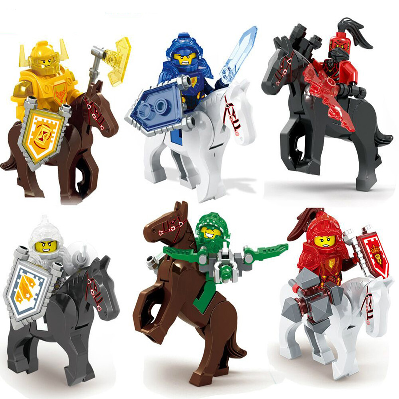 2017 New 6pcs Knights With Horses Clay Macy Aaron Jestro Building Blocks Set Toy Compatible with Nexus Lepine Knights 1 pcs knights building block minifigures axl clay macy lance aaron jestro figures kids gift compatible nexus legoelieds dg884