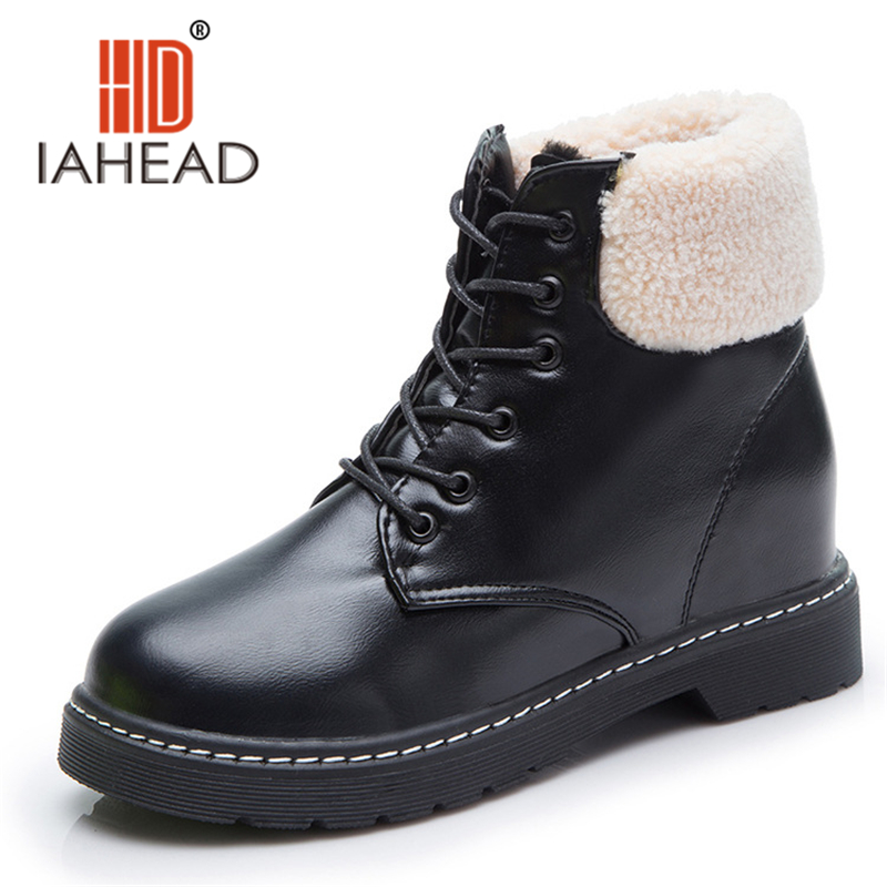 Brand  Winter Boots women ankle lace-up Shoes Warm Plush Boot winter shoes for women botas Snow boots UPB07 skhek girls boy boots for kid snow botas winter warm plush baby boot waterproof soft bottom non slip leather booties kids shoes