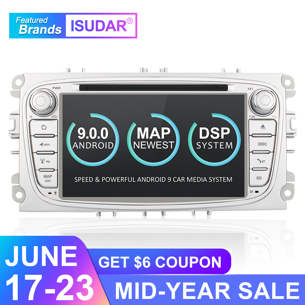 Isudar 9 2 Din Rádio Do Carro Android Para FORD/Focus/S-MAX/Mondeo/C-MAX/Carro Galáxia multimedia DVD Player GPS DVR USB WIFI FM/AM