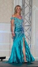 Blau 2014 Weg Von Der Schulter Formale Abendkleider Pailletten Und Perlen Bodenlangen Satin Abschlussball-kleider Freies Verschiffen Frauen Schlitz