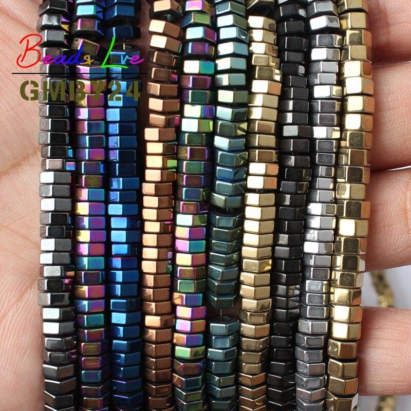 d0814c1fd607 6x2mm Piedra Natural Multicolor Rondelle forma del agujero grande  espaciador de los granos del hematites para la joyería haciendo pulsera DIY  collar 15 ...
