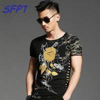 2017 Summer Mens Casual T Shirts O Neck Black Gold Bronzing Rose Print Brand Men S