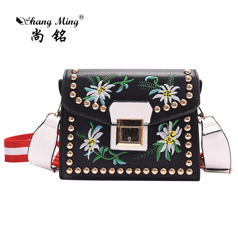 Women Bag 2017 Hot Sale Popular Organ Flap Rivet Embroidery Bag PU Shoulder Bag National Style Lady's Mixed-color Messenger