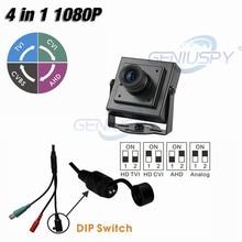 New Small Size 34*34mm HD TVI HD CVI HD AHD 960H 2MP 1080P 4 IN 1 Mini Square Camera CCTV AHD With DIP Switch&UTC Function