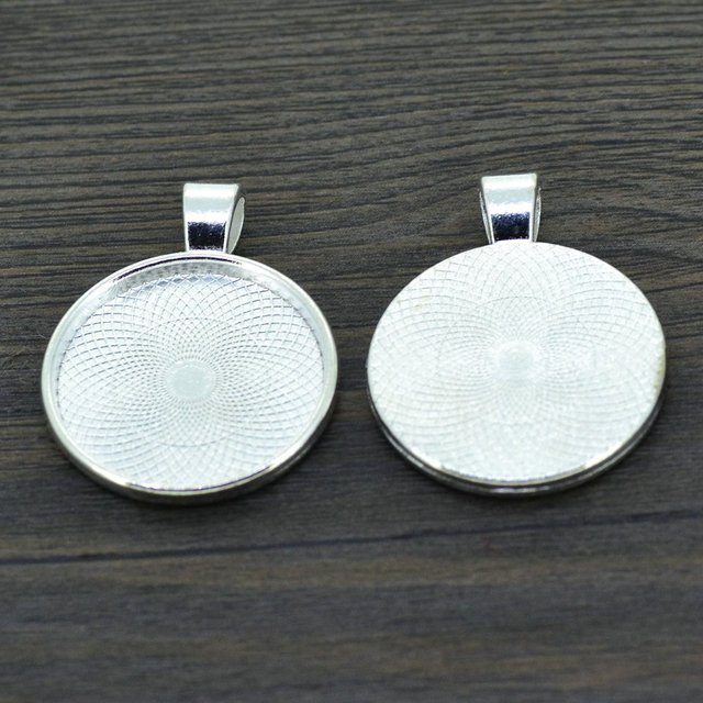 LIEBE ENGEL 10pcs 25mm Silver Color Necklace Pendant Setting Cabochon Cameo Base Tray Bezel Blank Jewelry Making Findings