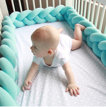 Cama De Bebé Nudo De Parachoques Decoración De La Habitación Del Bebé Juego De Cama Cuna Para Bebés Cuna Parachoques Tejido De Felpa Para Cama De Recién Nacidos Conjunto De Cunas De Protetor