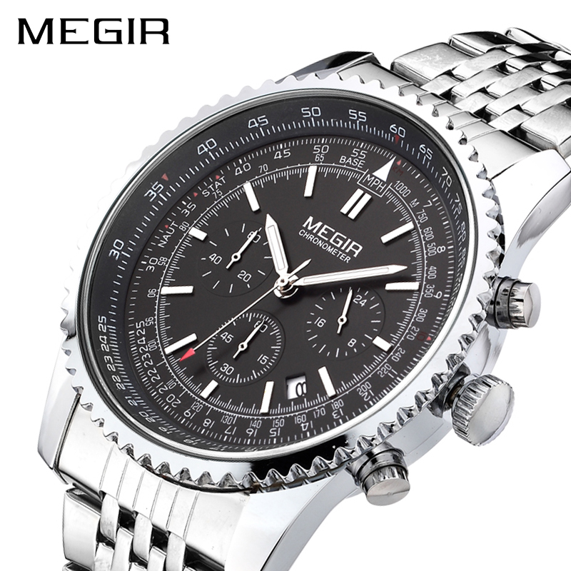 MEGIR Original Men Watch Stainless Steel Quartz Watches Men Top Brand Luxury Clock Men Relogio Masculino Erkek Kol Saati 2008 megir clock men relogio masculino top brand luxury watch men leather chronograph quartz watches erkek kol saati for male