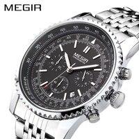 MEGIR Original Men Watch Stainless Steel Quartz Watches Men Top Brand Luxury Clock Men Relogio Masculino
