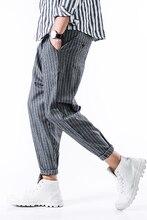 M-5XL!!!   2017 men's clothing plus size stripe ankle length trousers loose harem pants male skinny pants thin 9 casual harem pa