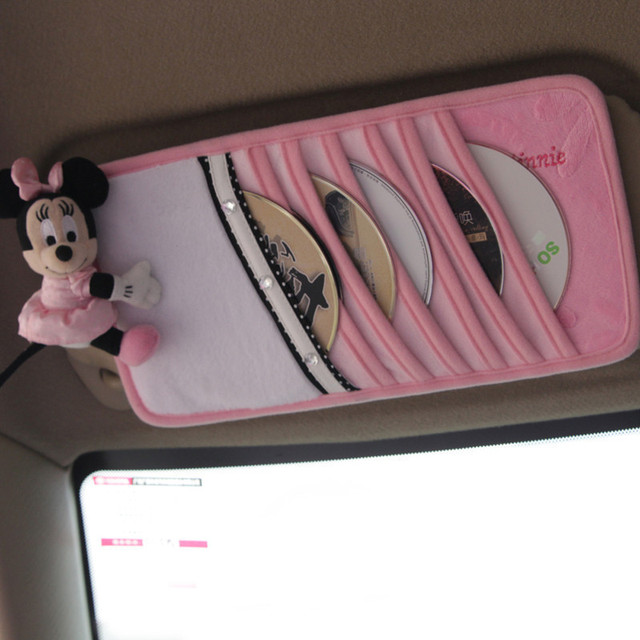 Minnie Mouse Plush CD Case Sun Visor Cover Sunshading Board Case CD Holder Slot 1pc