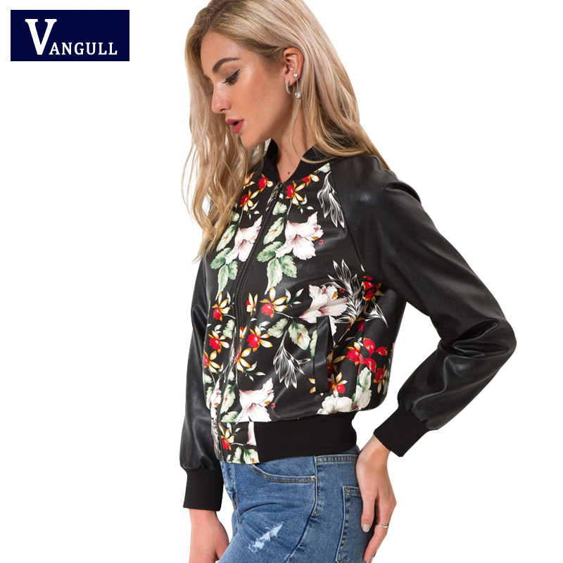 Vangull Black Soft Leather Motorcycle Baseball Jackets Zipper New Ladies Spring Autumn PU Print Floral Leather Slim Coat Outwear