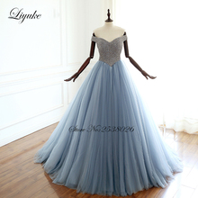 Liyuke Off The Shoulder A-Line Evening Dresses Full Bust Beading Dress With Lace Up Closure