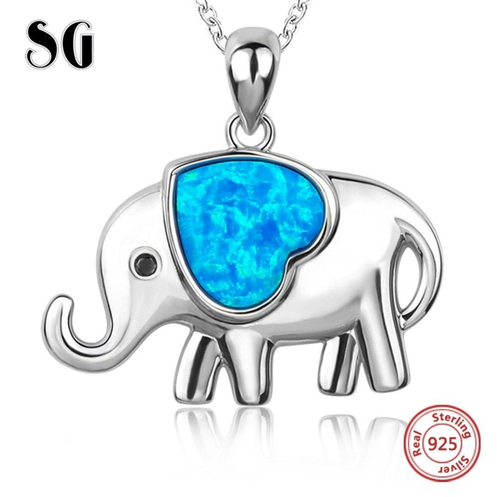 925 Sterling Ezüst kék szerelem Elefánt Nyakláncok és medálok - Finom ékszerek